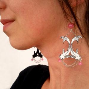 Boucles d'oreilles poissons Koï rose