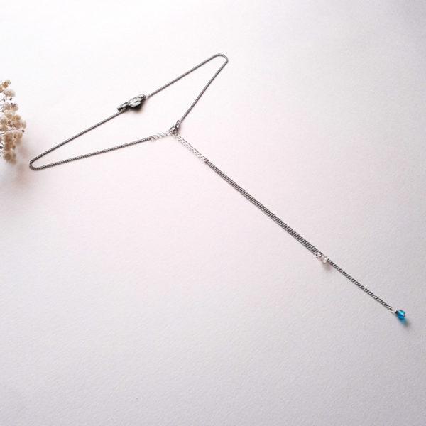 Collier de dos nuage japonais et gouttes de pluie en perles de verre craquelé