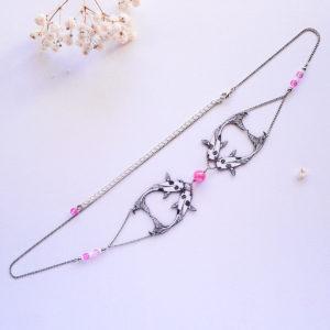 Headband poissons carpes koï rose - bijou de cheveux style art déco japonisant
