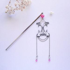 Pic à cheveux poissons carpes koï rose - style art déco japonisant