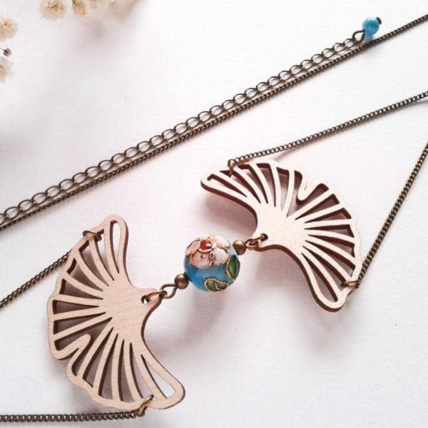 Headband feuilles de ginkgo en bois - couleur bleu turquoise et bronze