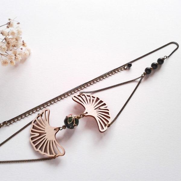 Headband bronze et noir avec feuilles de ginkgo en bois - bijou de cheveux rétro japonisant