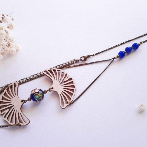 Headband mariage feuilles de ginkgo en bois porte bonheur - couleur bleu cobalt et bronze