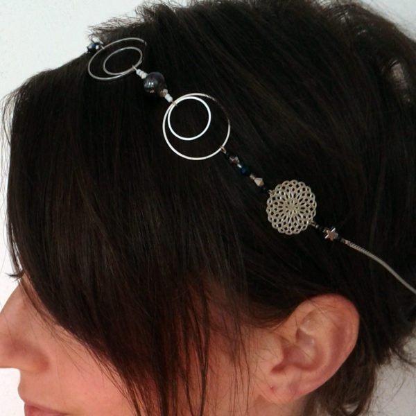 Headband mariage inspiré des étoiles - noir et argenté