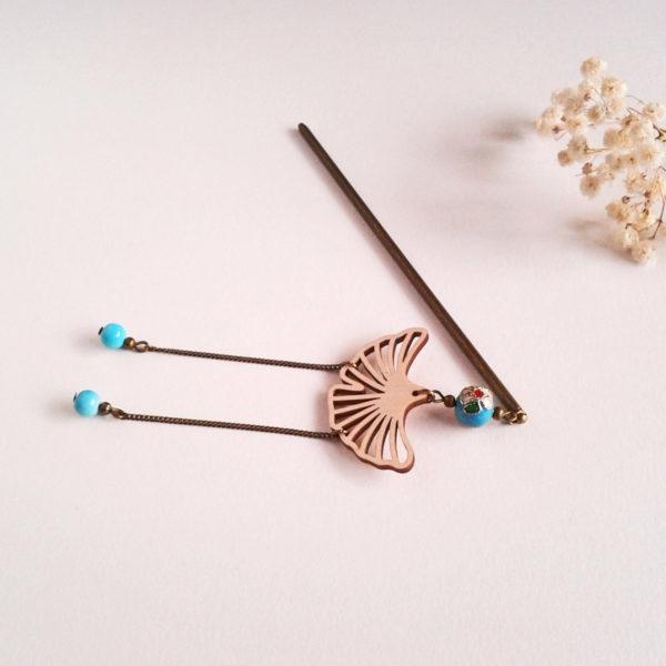Pic à chignon feuille de ginkgo bronze et bleu turquoise - rétro japonisant