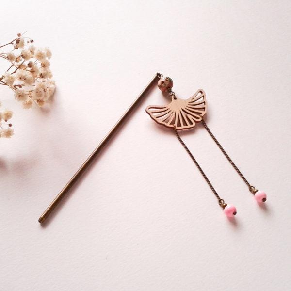 Pic à cheveux ginkgo - rose et bronze - inspiration geisha