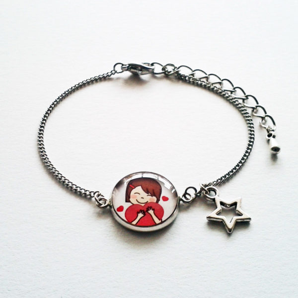 Bracelet illustré Marine cœur
