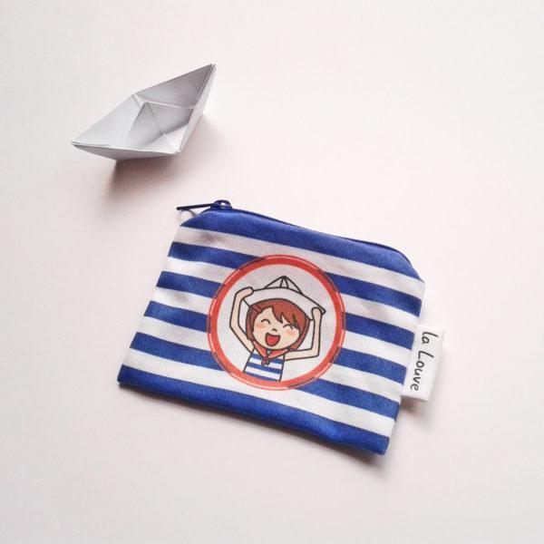 Porte-monnaie marin avec Marine heureuse