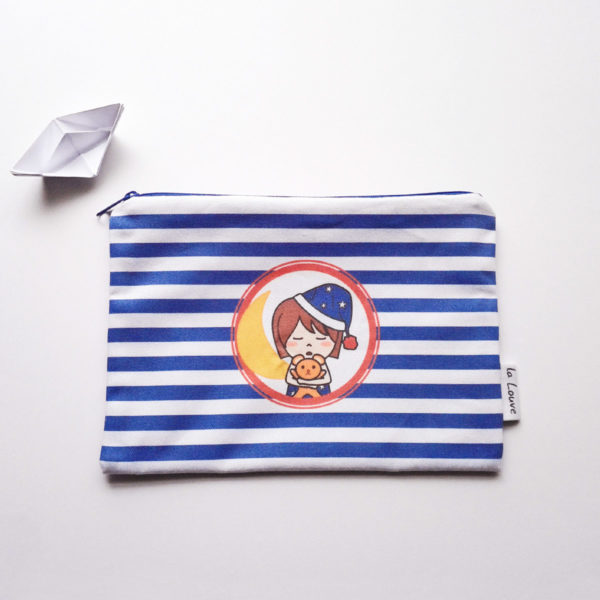 Trousse de toilette doublé en coton enduit - Marine et son doudou