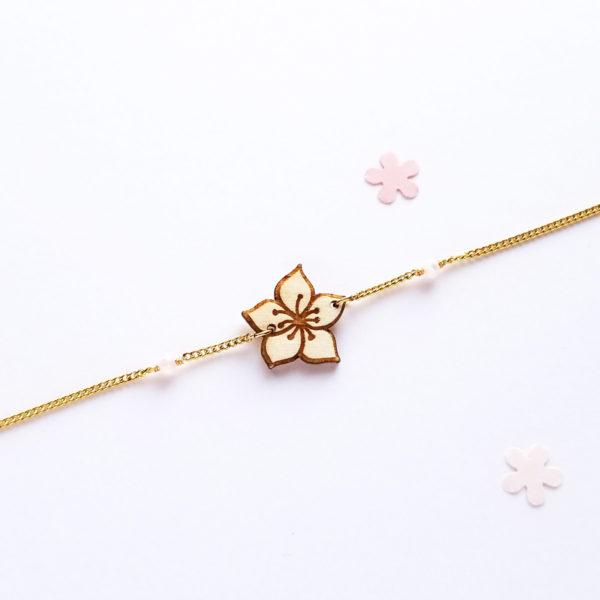 Bracelet sakura en bois d'érable français.