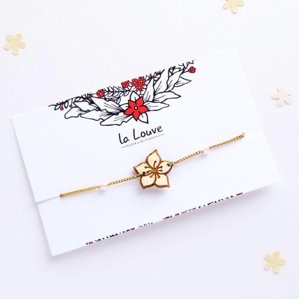 Bracelet sakura, fleur de cerisier en bois d'érable et acier inoxydable. Bijou créateur français.
