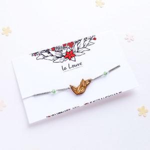 bracelet feuillage en bois