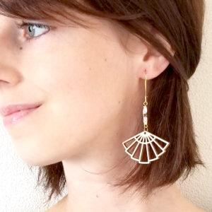 Boucles d'oreilles éventail en bois - personnalisables