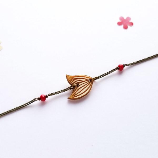 Bracelet feuille en bois d'érable