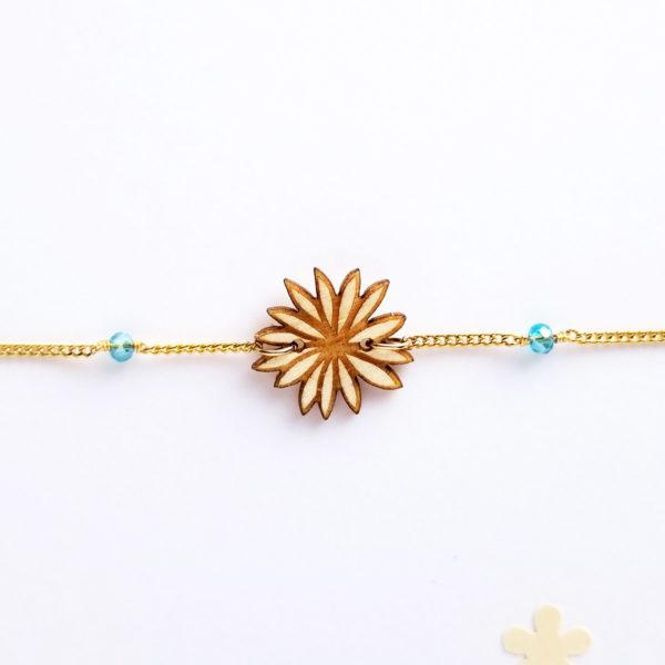 Bracelet fleur en bois