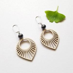 Boucles d'oreilles Sun, style art déco en bois et céramique - bijou la Louve